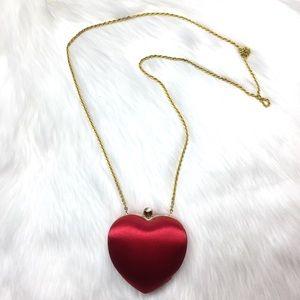 La Regale Vintage Satin Heart Chain Purse.